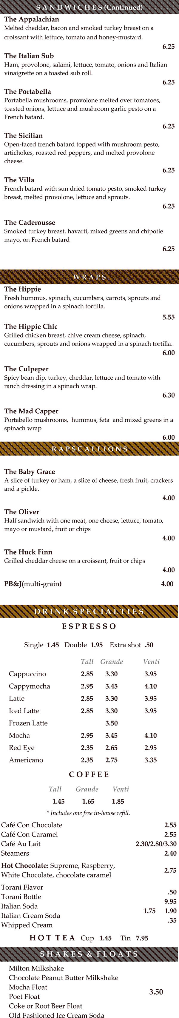 The Drowsy Poet Cafe menu - page 2