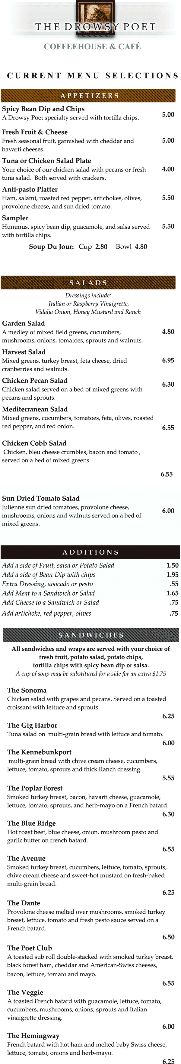 The Drowsy Poet Cafe Menu